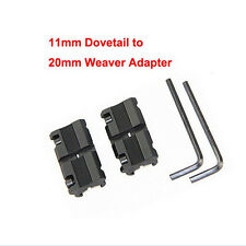 2 x 11mm Dovetail to 20mm Weaver Picatinny Rail Converter Adapter Base Mount OP