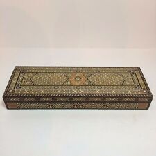 Long Vintage Handmade Brown Shades & White Wood Jewelry Box With Red Felt