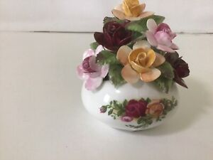 Rare Royal Albert Old Country Roses Shaped Sack Of Flowers / England