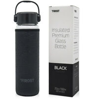 Firost 20 oz Premium Insulated Glass Water Bottle - Wide Mouth - BLACK (NEW)