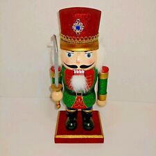 """Holiday Home Red Green Glittered Wooden Nutcracker Christmas New 10"""""""
