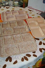 """4 Vintage 15"""" Prolon Lunch Cafeteria Trays Tan Pink Brown Blue Speckled Confetti"""