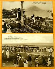 2 Photo Postcards Tripoli Libya 1911 Italy Pioneer Aviation Captain Piazza Plane