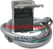 "Non Fused 60 amp Electric A/C DISCONNECT BOX+ 3/4""x 6ft WHIP+Wire(2-#8Ga+1#10Ga)"