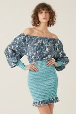 TIGERLILY - Size 14 NWT ladies blue 'Patha Shirred Dress' mini boho off shoulder
