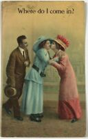 Postcard Where Do I Come In Man Comical Women Ladies Kissing Hats 1900's