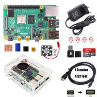 Raspberry Pi 4B 1/2 / 4G RAM Starter Kit Clear Case + Fan 5V 3A Power HDMI SD