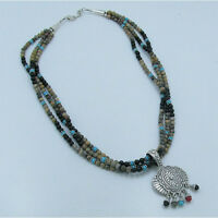 .925 Sterling Silver Natural Jasper Black Onyx Blue Turquoise Beaded Necklace
