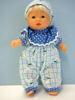 """6 1/2"""" Gi-Go Baby Doll, Soft Body, Glass Eyes, Blue Outfit with Cap"""