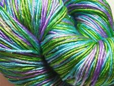 100% Pure Reeled Mulberry Silk Lurex Dupion Yarn 50 gram Ocean Shimmer 003