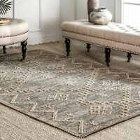 nuLOOM Contemporary Handmade Moroccan Julianne Jute Area Rug in Gray