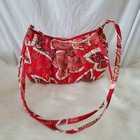 Vera Bradley Purse Frannie Rosy Posies Floral Paisley Crossbody Bag Red Pink