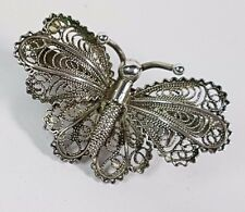 VINTAGE CONTINENTAL 800 SILVER FILIGREE 3D BUTTERFLY BROOCH