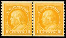 497, Mint F/VF OG NH 10¢ Coil Line Pair Cat $260.00 - Stuart Katz