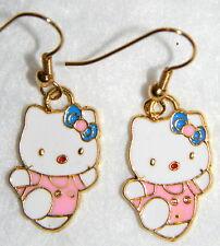 #11610 HELLO KITTY Pink Gold-Tone Earwires Colorful Enamel Metal Charm Earrings