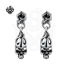 Silver earrings made with black swarovski crystal skull fire stud soft gothic