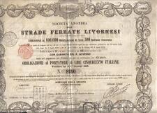 Italy Kingdom 1862 Bond Railroad Livorno 500l Deco Rare