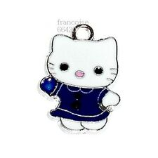 HK26// BRELOQUE CHARM PERLE / HELLO KITTY ROBE MARINE / CREATION BIJOUX BRACELET