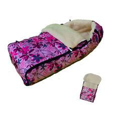 Lammfell Winter Fußsack Lammfellfußsack Lammwolle Blumen Rosa Pink ][Schlafsack