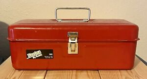 Vintage Disston My Buddy 1351 Red Metal Tool Tackle Box Very Nice Shape Clean