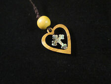 Handmade Mother of Pearl Cross in Olive Wood Heart Necklace Bethlehem Palestine