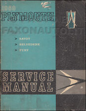1960 Plymouth Shop Manual ORIGINAL 60 Fury Belvedere Savoy Repair Service Book