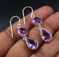 Solid 925 Sterling Silver Pear Shape Amethyst Birthday Gift Earring Jewelry