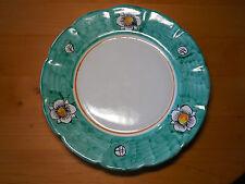 "BUONO ITALIA Italy Set of 2 Dinner Plates 12 3/4"" Green Rim White Flowers"