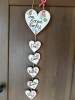 Personalised Our Family Tree Handmade Heart Gift Home Decor Shabby Chic Sign