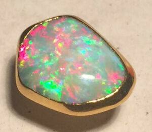 Solid Opal Tie Pin Earth Mined Best Grade Brilliant Colours 14x11mm 22kGold Clad