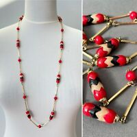Vintage Necklace Art Deco Style Long Plastic Beads Red Gold Black 1920s Flapper