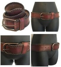 LINEA PELLE Vintage Collection NWOT Cognac Leather JESSIE Laced Edge HIP BELT S