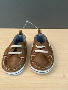 Carter's Baby Boy Brown Boat Crib Shoes Size 3-6 Months