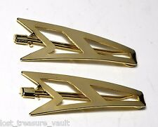 Vintage Hair Barrette Pair Gold Metal Art Deco Design Ladies Accessory