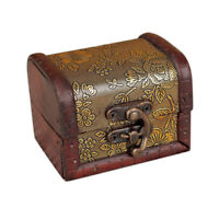 Exquisite Trinket Jewelry Storage Box Handmade Vintage Wooden Treasure Decor
