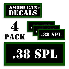 38 SPL Ammo Can Stickers 4x .38 Special Ammunition Gun Case Labels Decals 4 pack