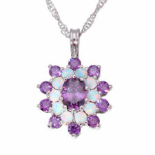 White Fire Opal Amethyst Silver Women Jewelry Necklace Pendant LP6674