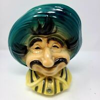 Vintage Royal Copley Tony Italian Man Pottery Head Vase Wall Pocket Planter 8.5""
