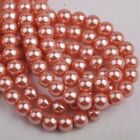 50pcs 8mm Pearl Round Glass Loose Spacer Beads Jewelry Making Pearl Pink