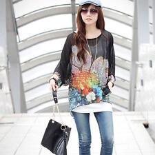 2015 New Bohemian Blouse Lady Batwing Sleeve Chiffon Shirt Oversized Tops Black