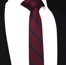 Mens Skinny Tie Maroon Red Slim Blue Stripe Silk