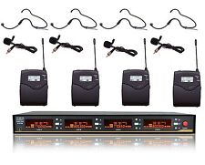 4-Channel Professional UHF Lapel / Lavalier & Headset Wireless Microphone System