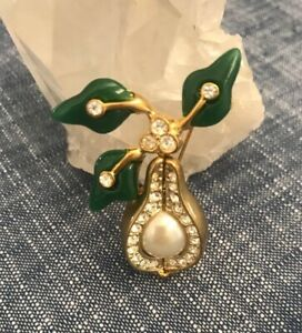 Joan Rivers Gold Tone Pear Brooch Pin w/Pearl, Chrystals & Green Lucite Leaves