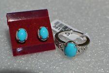 3.05ct  AZ SB Turquoise Earrings & Ring Size 8 Platinum over Fine Silver ~ SET