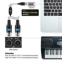 USB IN-OUT MIDI Interface Converter Cable PC to Music Keyboard Adapter Cord V7D8