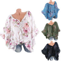 Women Floral Batwing Short Sleeve Loose T-Shirt Ladies Summer Casual Tops Blouse