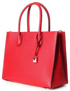 Michael Kors Mercer Tote In Summery Red Grained Leather Chrome Hardware RRP $500