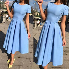 2017 Women Sexy Vintage Short Sleeve Cocktail Evening Party Pleated Swing Dress