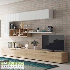 Parete attrezzata ESMERALDA bianco/legno mobile tv moderno casa soggiorno sala