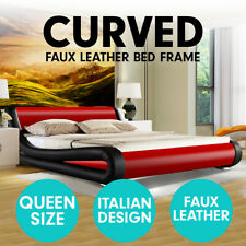 Queen Size PU Leather Bed Frame Wood Base Metal Beam Italian Design - Red